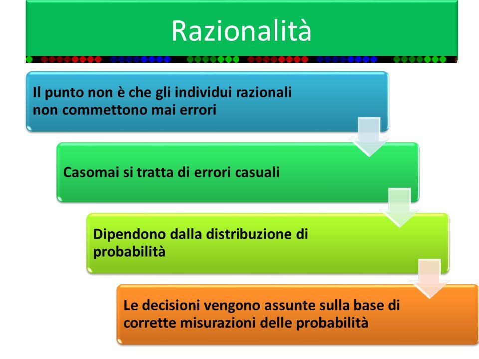 Razionalità Il punto non è che gli individui razionali non commettono mai errori. Casomai si tratta di errori casuali.