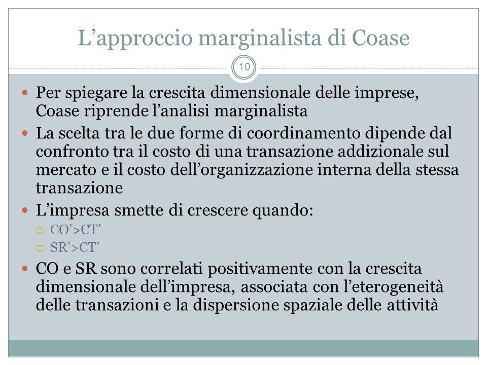 L'approccio marginalista di Coase