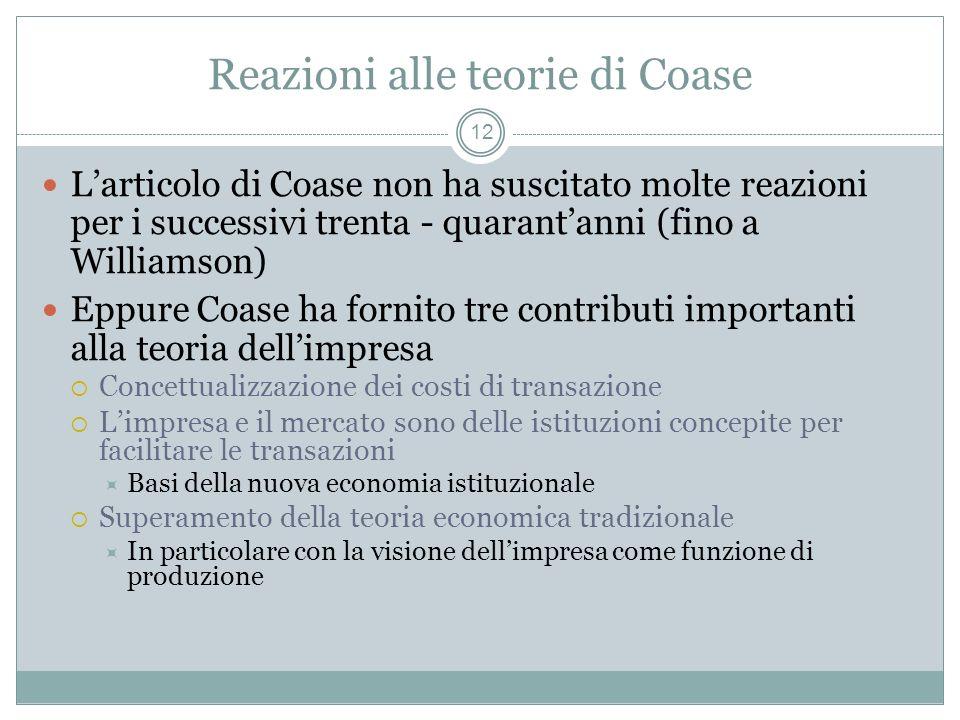 Reazioni alle teorie di Coase