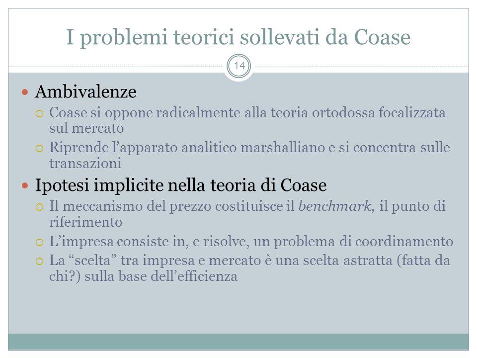 I problemi teorici sollevati da Coase