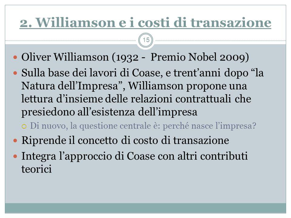 2. Williamson e i costi di transazione