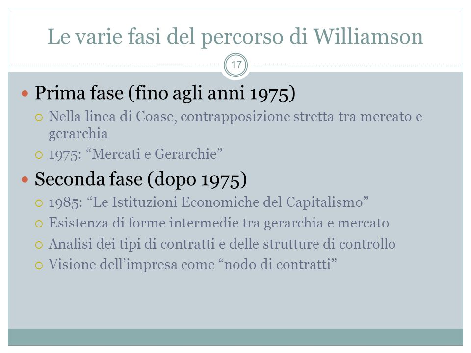 Le varie fasi del percorso di Williamson