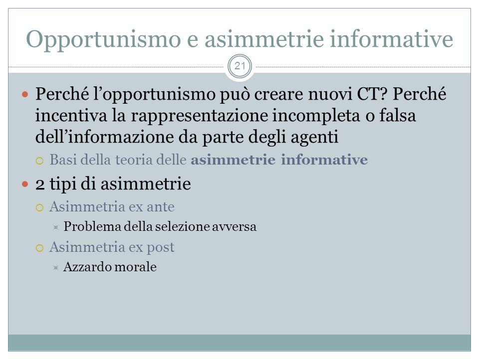 Opportunismo e asimmetrie informative