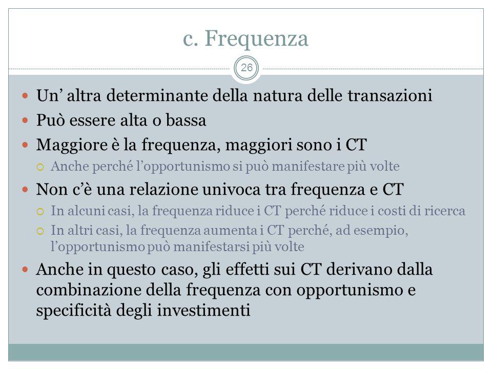 c. Frequenza Un' altra determinante della natura delle transazioni