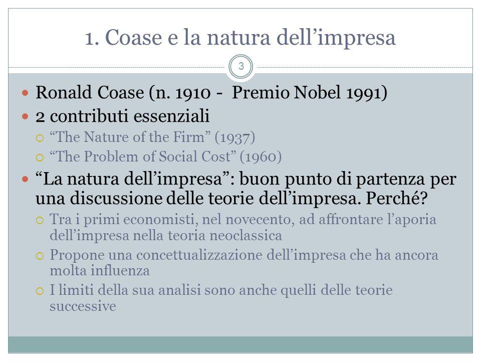 1. Coase e la natura dell'impresa