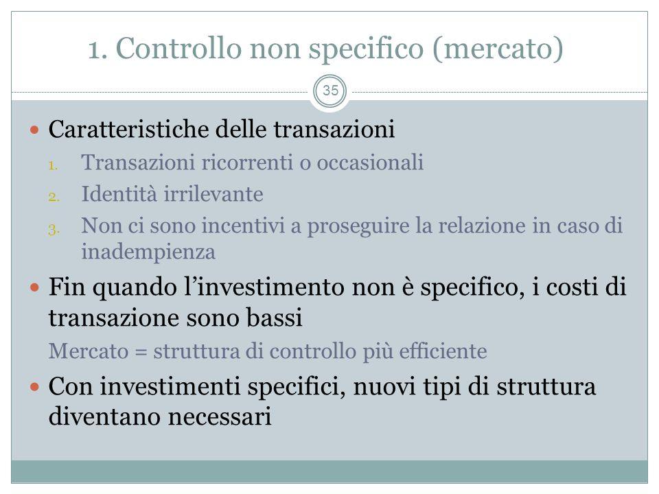 1. Controllo non specifico (mercato)