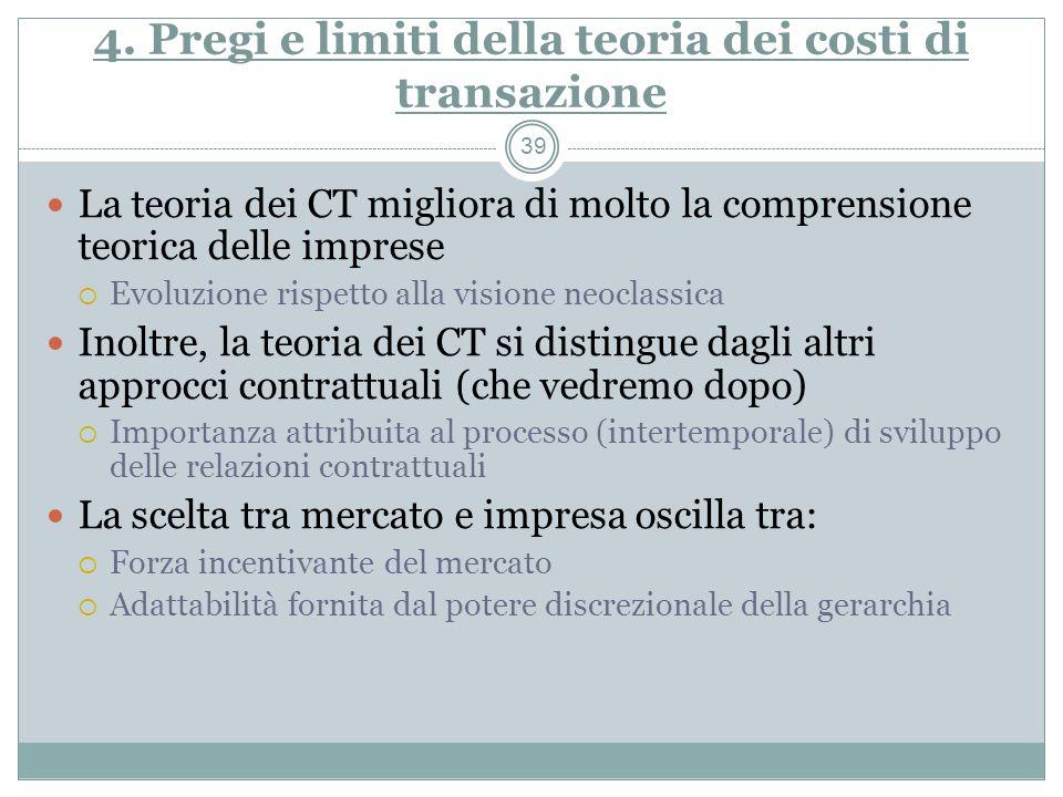4. Pregi e limiti della teoria dei costi di transazione