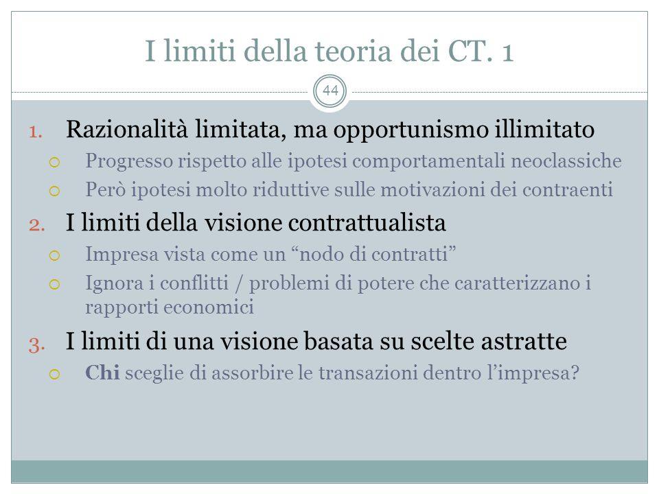 I limiti della teoria dei CT. 1