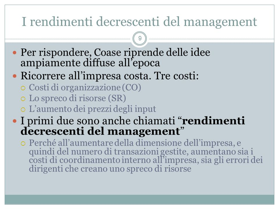 I rendimenti decrescenti del management