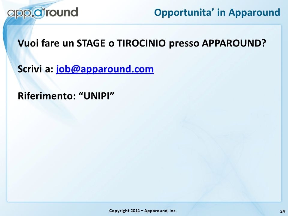 Opportunita' in Apparound