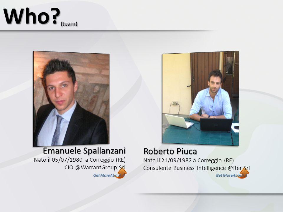 Who (team) Emanuele Spallanzani Roberto Piuca