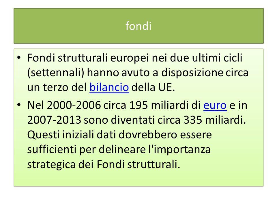fondi Fondi strutturali europei nei due ultimi cicli (settennali) hanno avuto a disposizione circa un terzo del bilancio della UE.