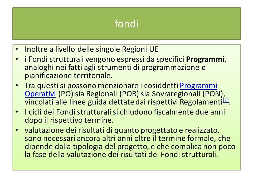 fondi Inoltre a livello delle singole Regioni UE