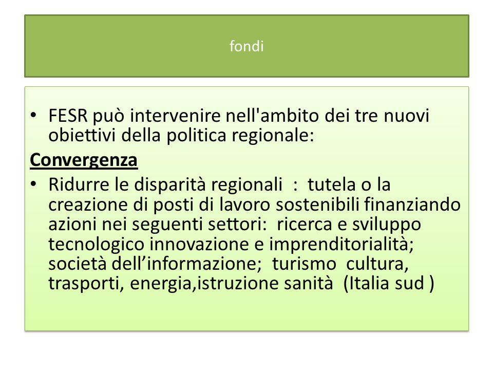 fondi FESR può intervenire nell ambito dei tre nuovi obiettivi della politica regionale: Convergenza.