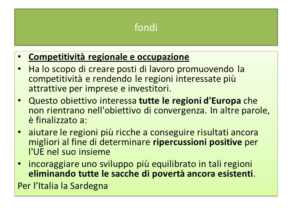 fondi Competitività regionale e occupazione