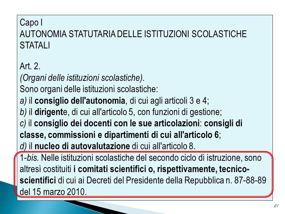 AUTONOMIA STATUTARIA DELLE ISTITUZIONI SCOLASTICHE STATALI