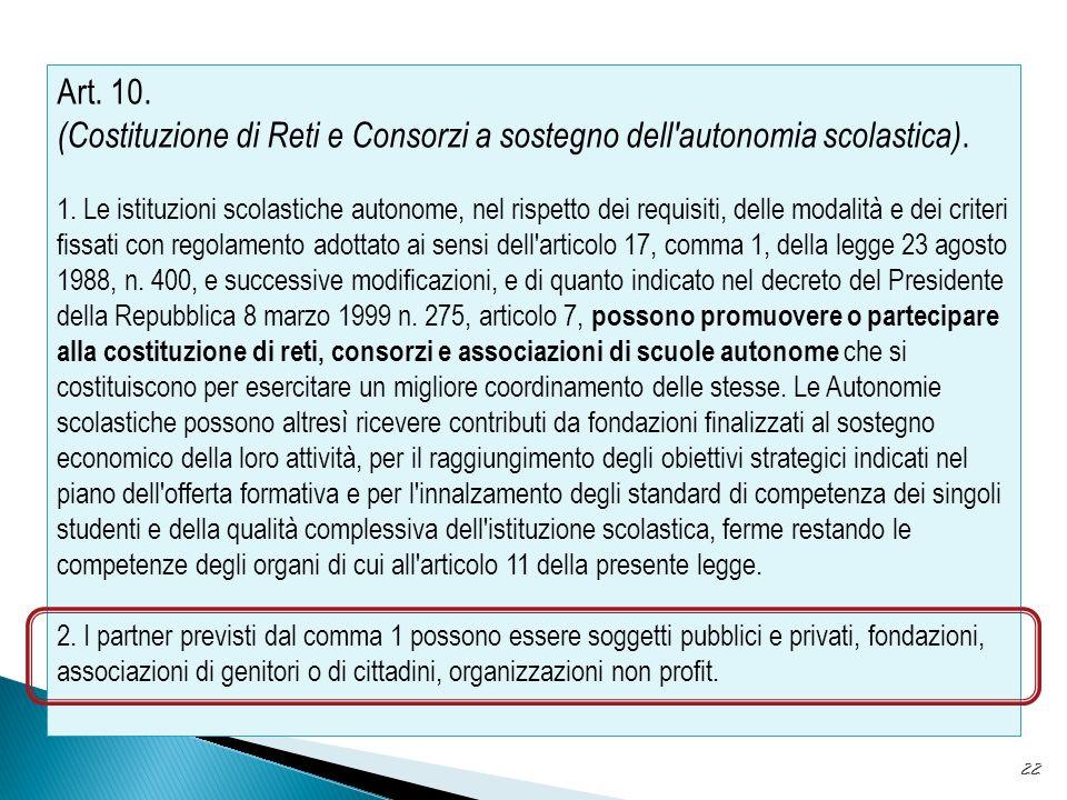 Art. 10. (Costituzione di Reti e Consorzi a sostegno dell autonomia scolastica).