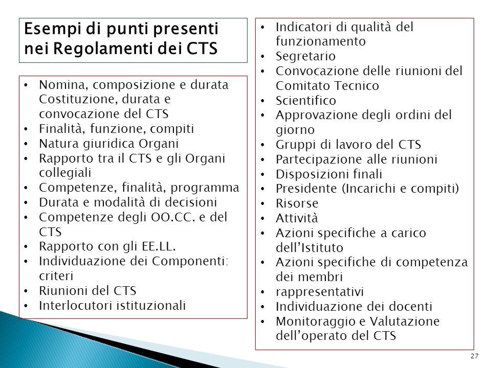 Esempi di punti presenti nei Regolamenti dei CTS