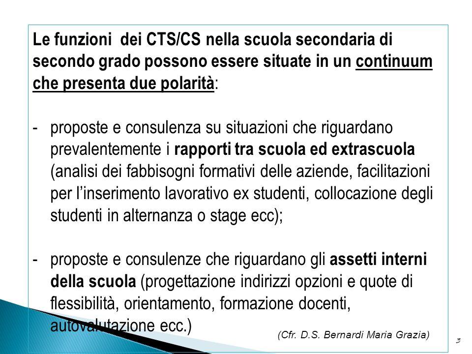 Le funzioni dei CTS/CS nella scuola secondaria di secondo grado possono essere situate in un continuum che presenta due polarità:
