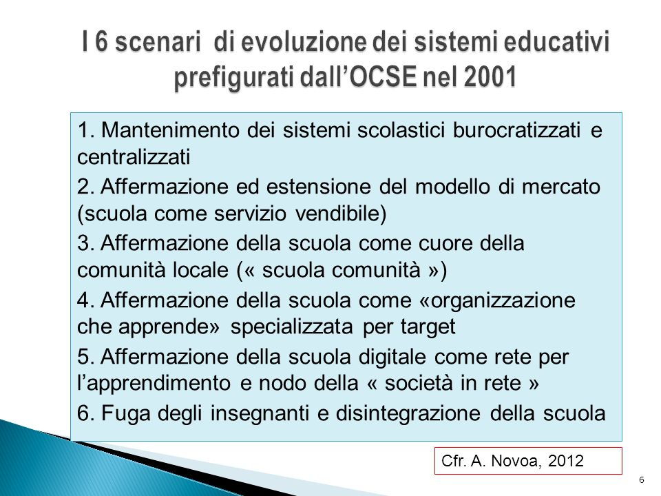 I 6 scenari di evoluzione dei sistemi educativi prefigurati dall'OCSE nel 2001