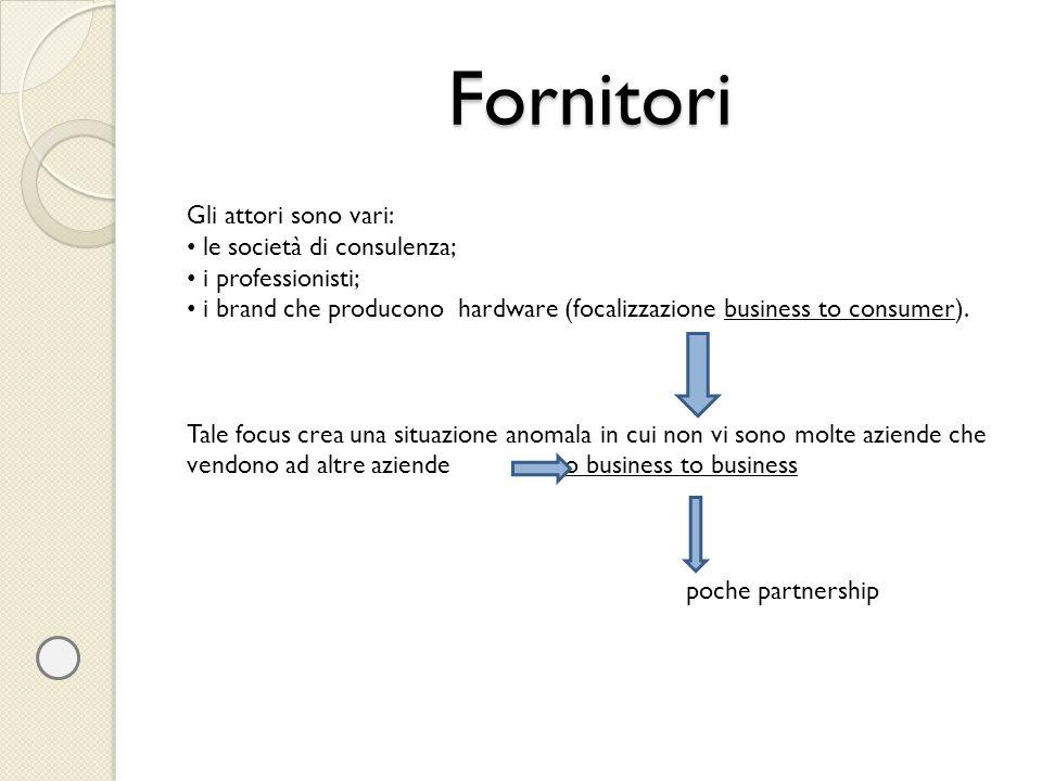 Fornitori Gli attori sono vari: le società di consulenza;