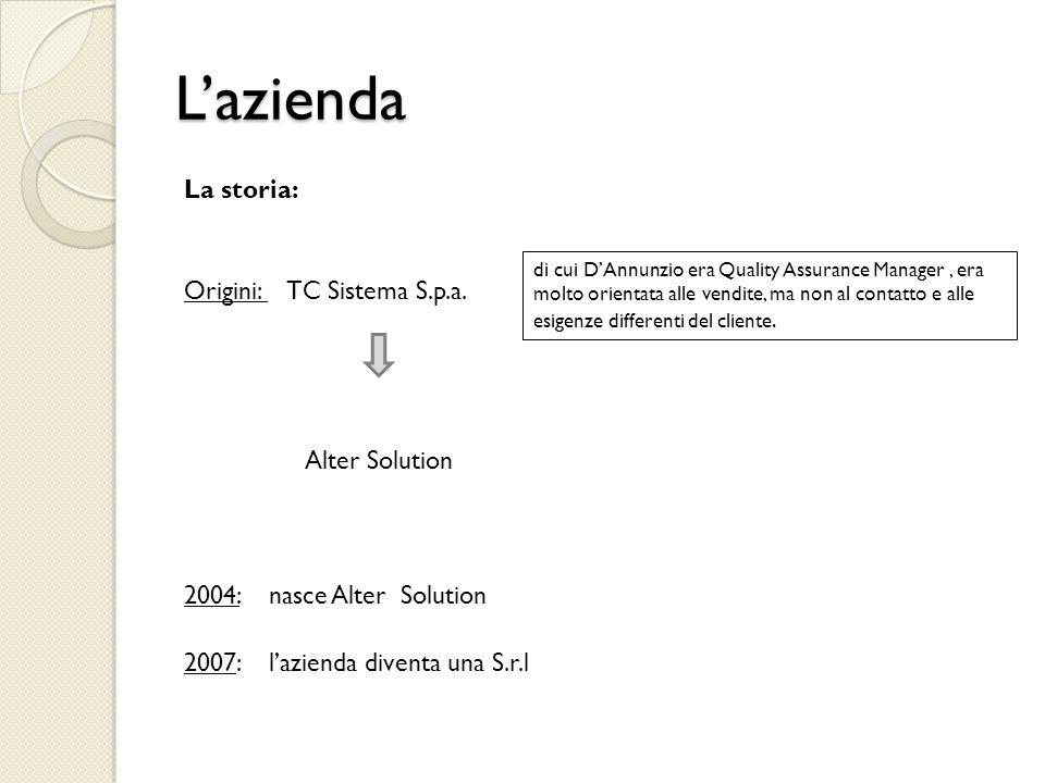 L'azienda La storia: Origini: TC Sistema S.p.a. Alter Solution