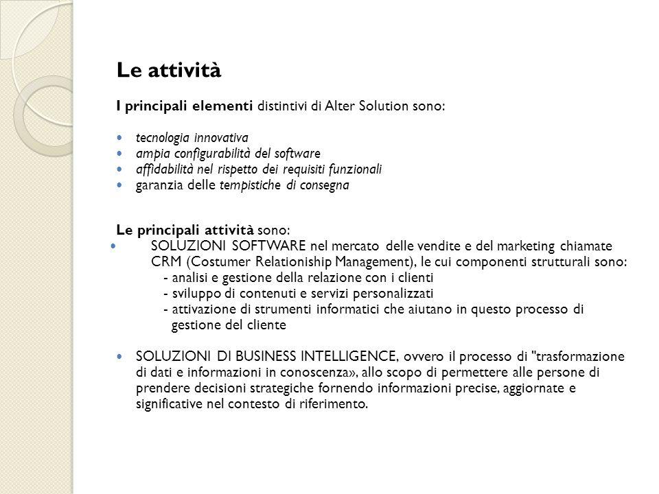 Le attività I principali elementi distintivi di Alter Solution sono: