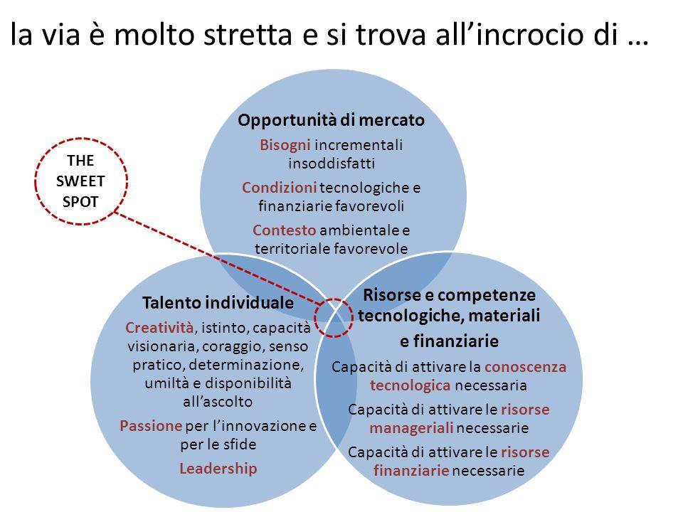 Opportunità di mercato Risorse e competenze tecnologiche, materiali