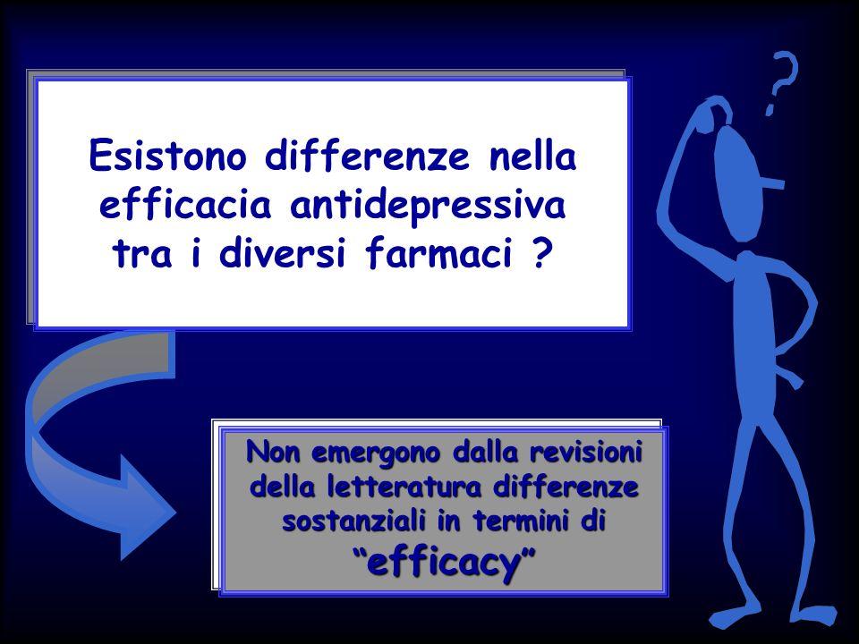 Esistono differenze nella efficacia antidepressiva tra i diversi farmaci