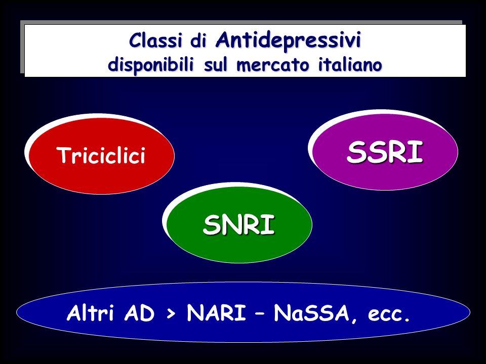 SSRI SNRI Triciclici Altri AD > NARI – NaSSA, ecc.