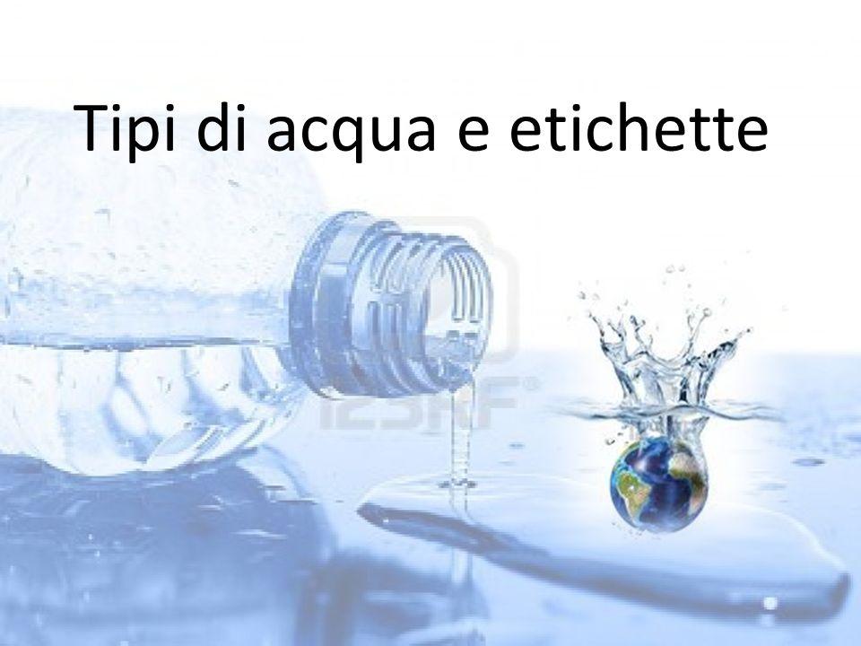 Tipi di acqua e etichette