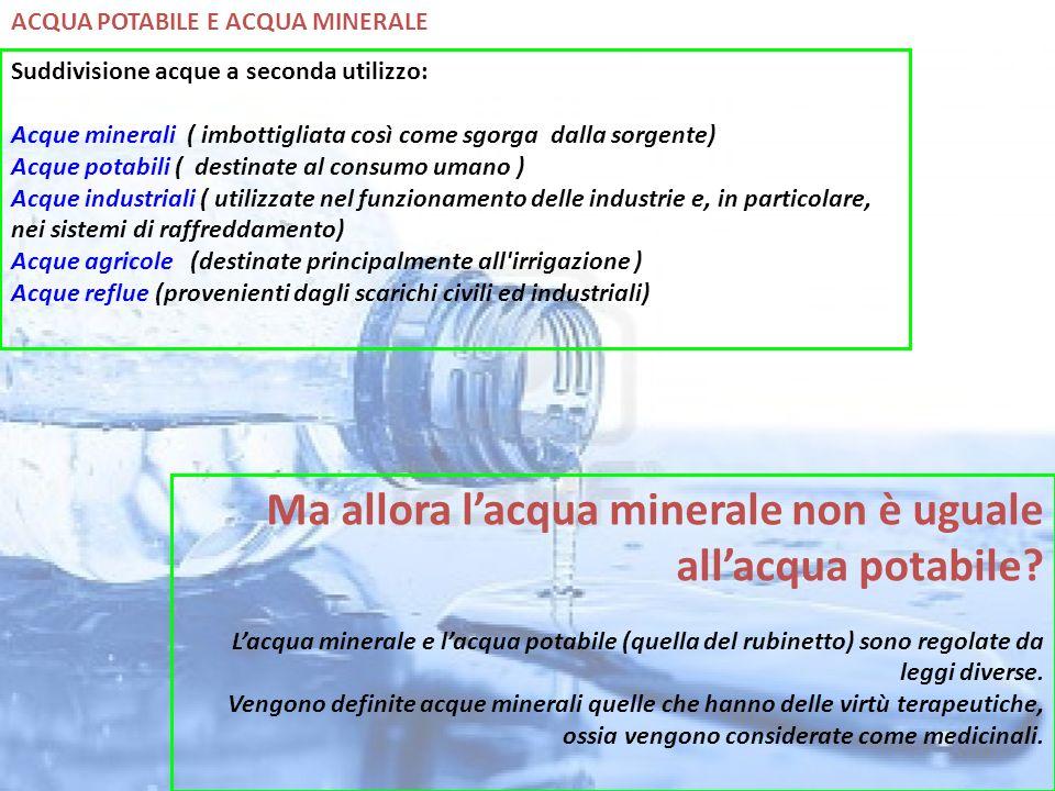 Ma allora l'acqua minerale non è uguale all'acqua potabile