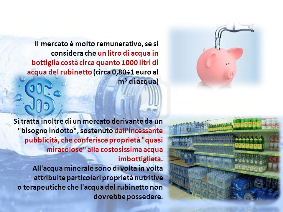 Il mercato è molto remunerativo, se si considera che un litro di acqua in bottiglia costa circa quanto 1000 litri di acqua del rubinetto (circa 0,80÷1 euro al m3 di acqua)