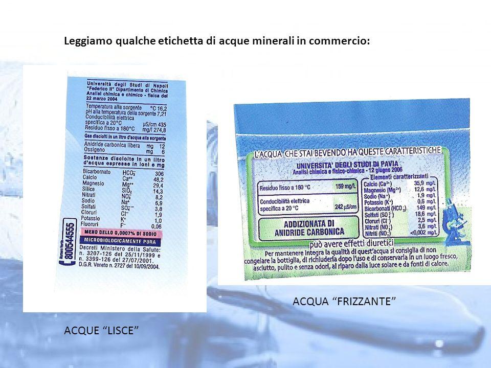 Leggiamo qualche etichetta di acque minerali in commercio: