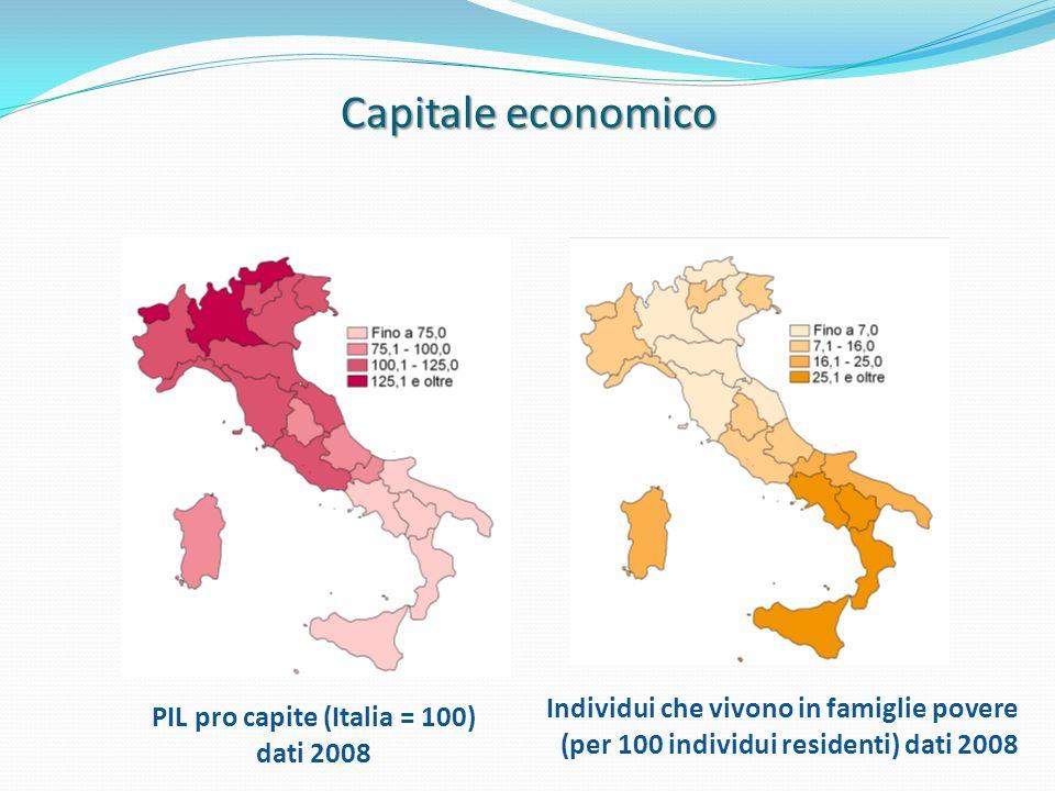 PIL pro capite (Italia = 100) dati 2008