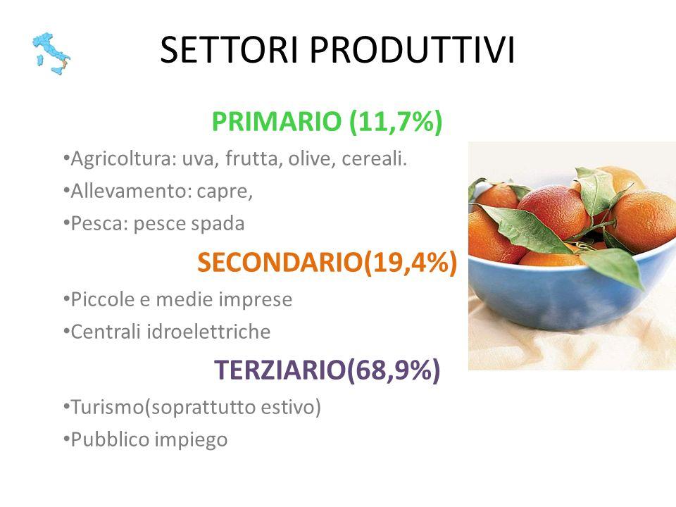 SETTORI PRODUTTIVI PRIMARIO (11,7%) SECONDARIO(19,4%) TERZIARIO(68,9%)