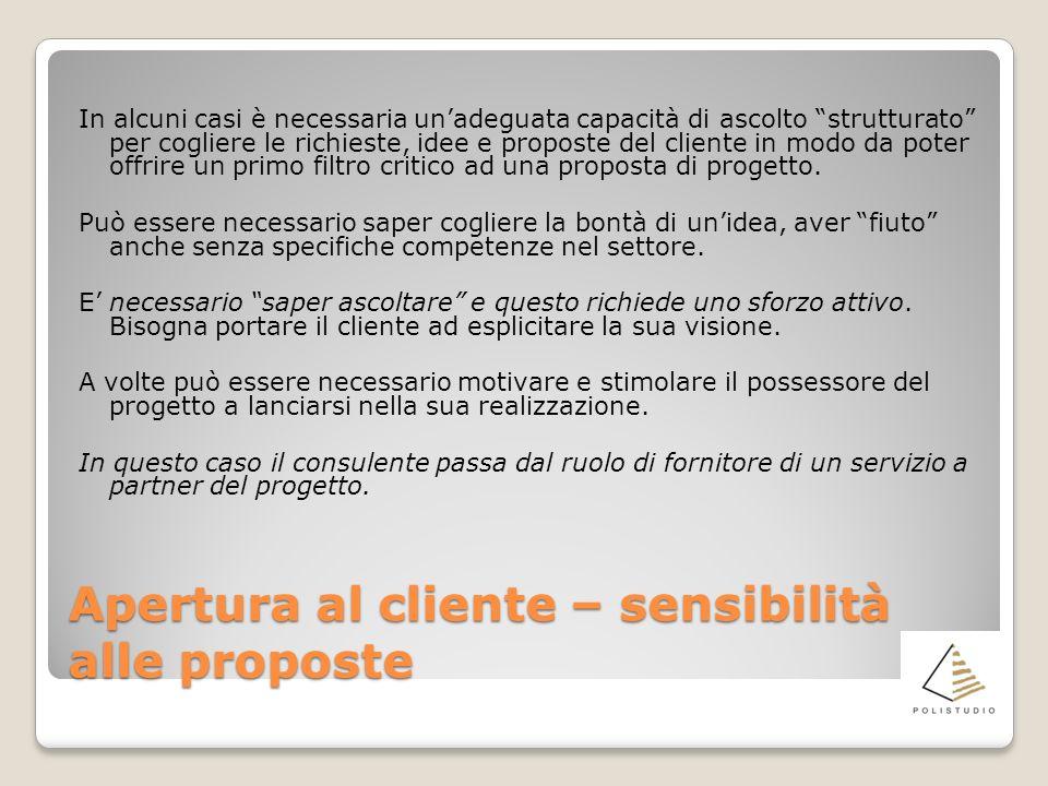 Apertura al cliente – sensibilità alle proposte