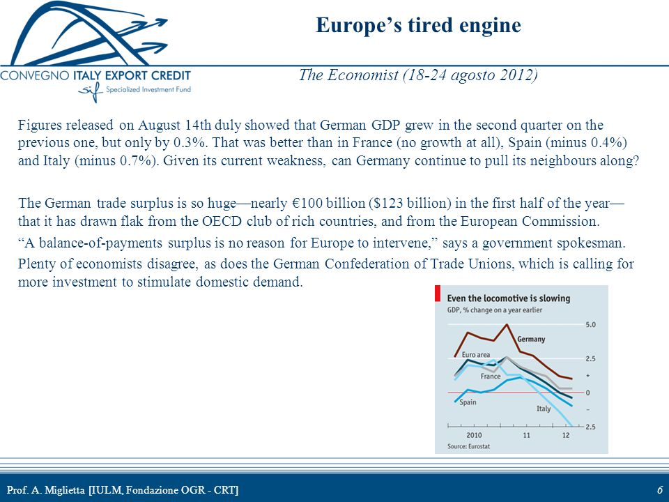 Europe's tired engine The Economist (18-24 agosto 2012)