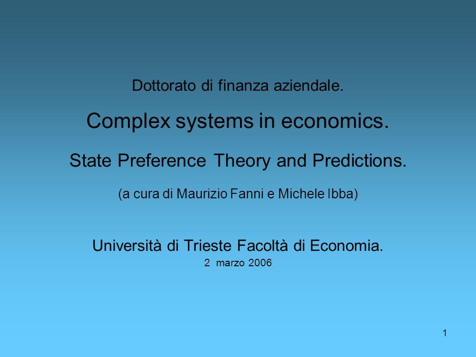 Dottorato di finanza aziendale. Complex systems in economics