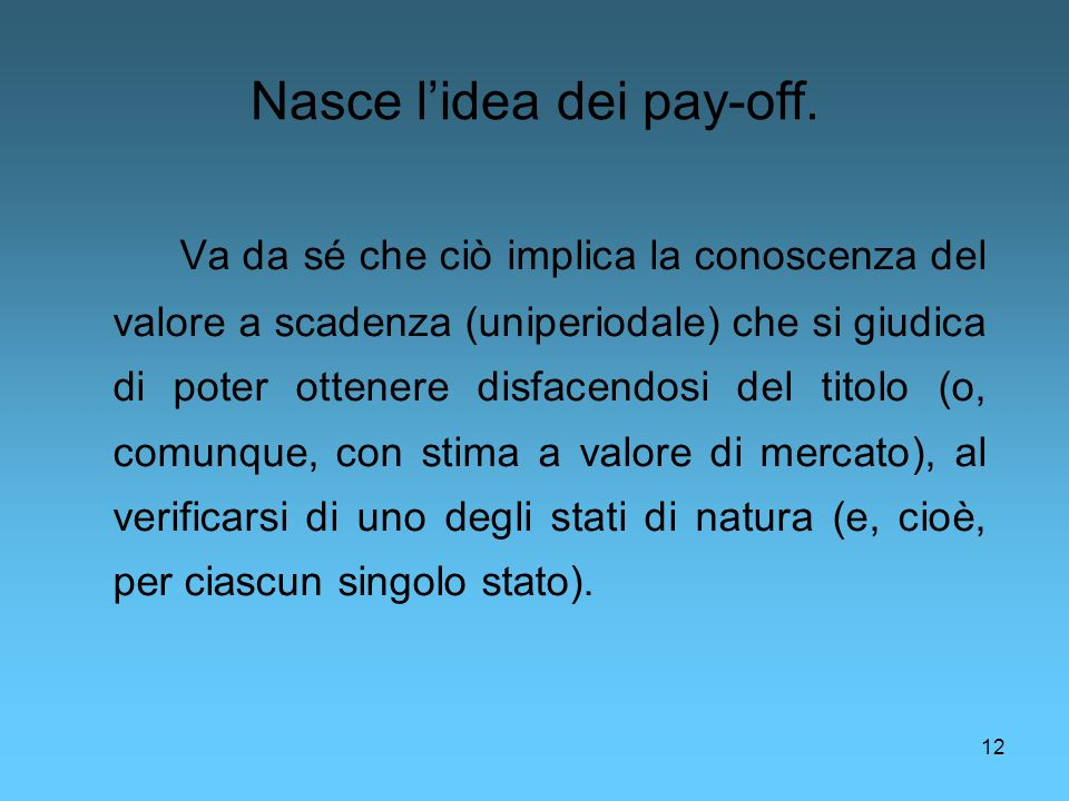 Nasce l'idea dei pay-off.