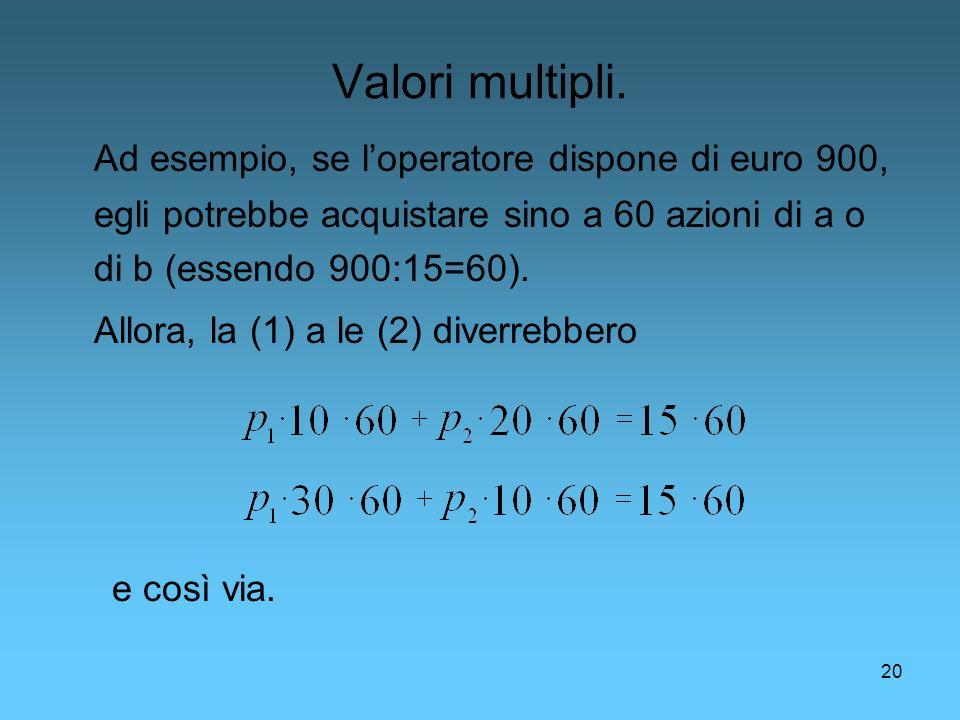 Valori multipli. Ad esempio, se l'operatore dispone di euro 900, egli potrebbe acquistare sino a 60 azioni di a o di b (essendo 900:15=60).