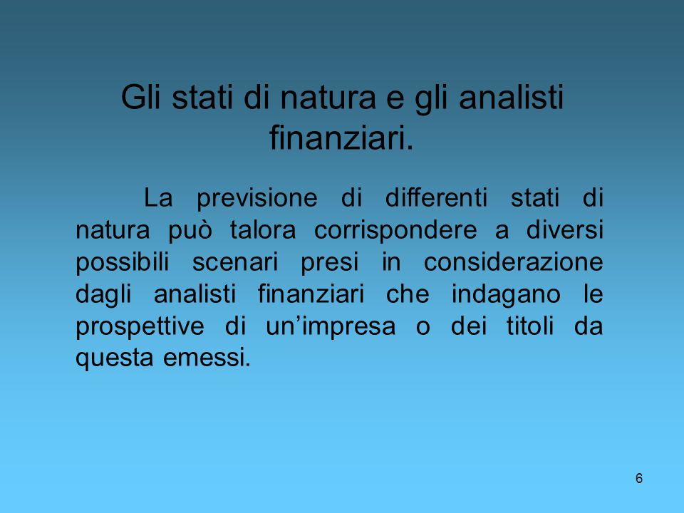 Gli stati di natura e gli analisti finanziari.