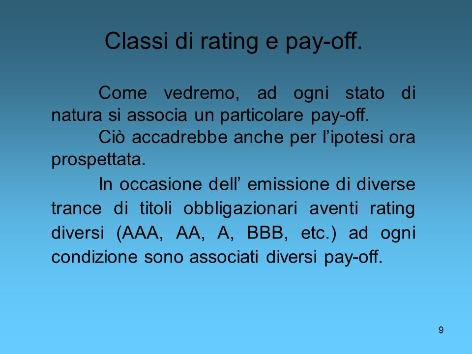 Classi di rating e pay-off.