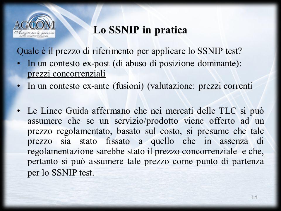 Lo SSNIP in pratica Quale è il prezzo di riferimento per applicare lo SSNIP test