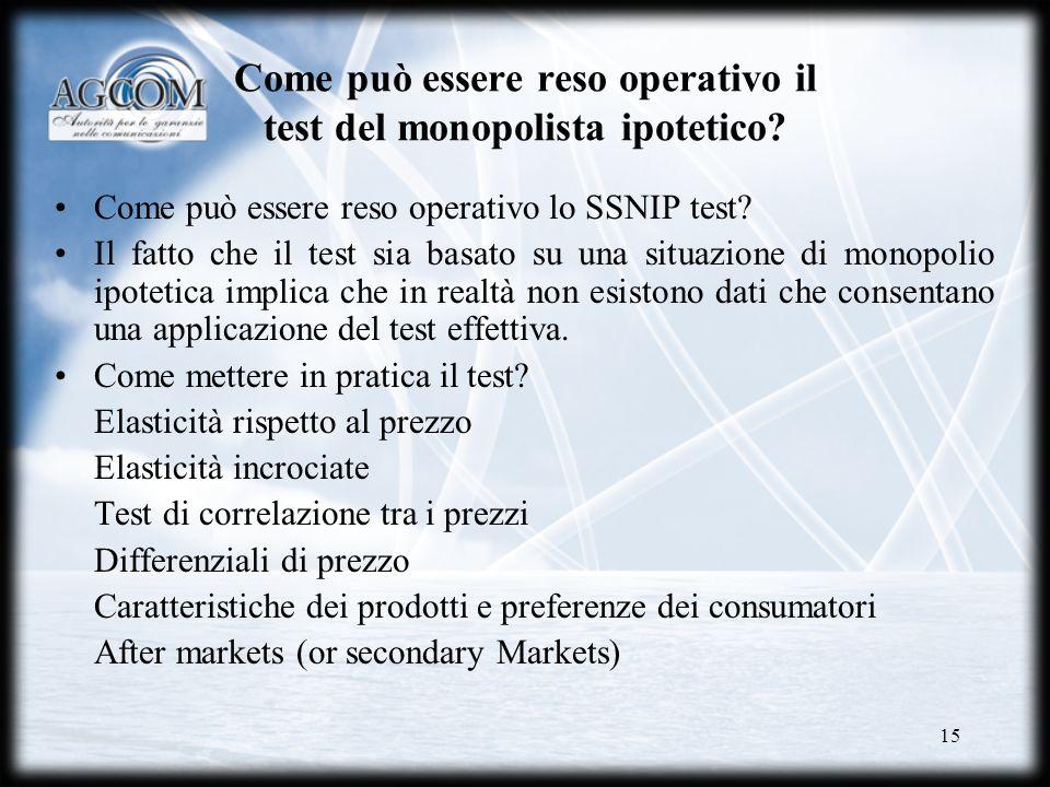 Come può essere reso operativo il test del monopolista ipotetico