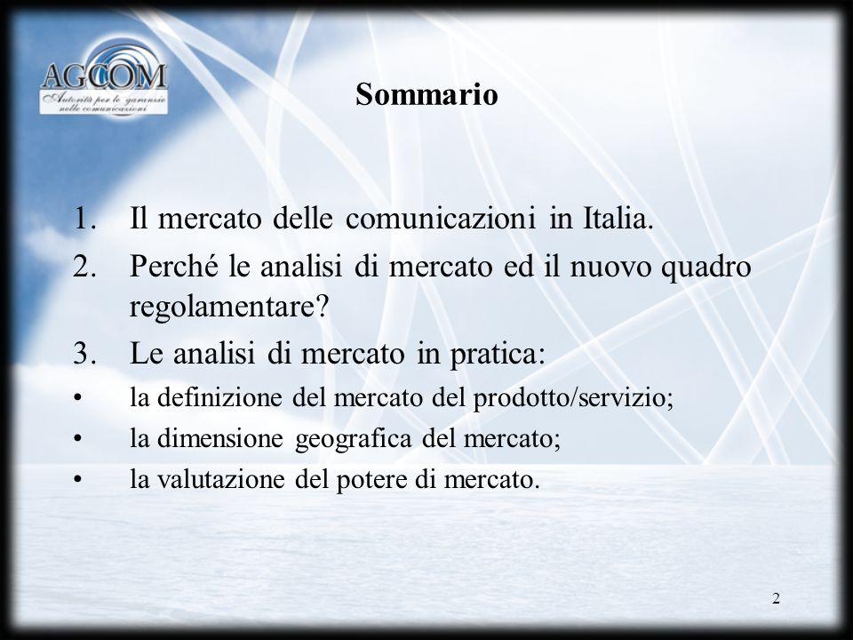 Il mercato delle comunicazioni in Italia.