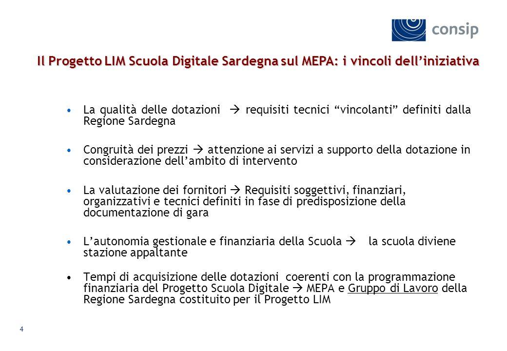 Il Progetto LIM Scuola Digitale Sardegna sul MEPA: i vincoli dell'iniziativa