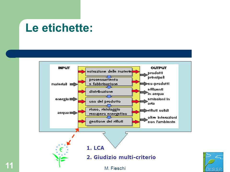 Le etichette: 1. LCA 2. Giudizio multi-criterio M. Fieschi