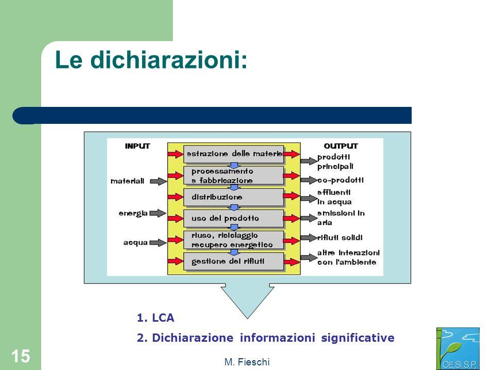 Le dichiarazioni: 1. LCA 2. Dichiarazione informazioni significative