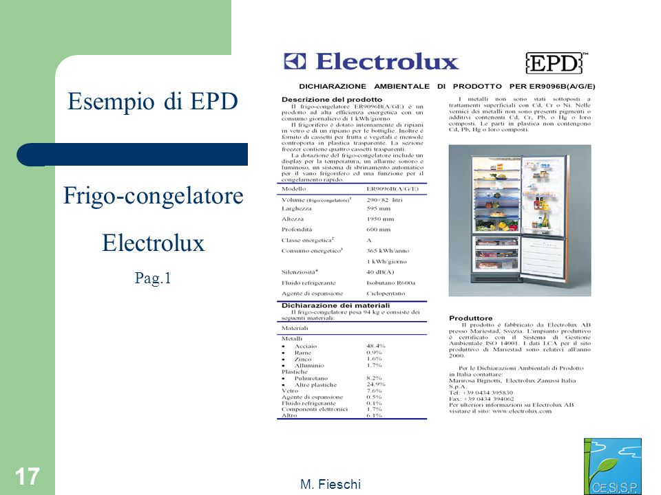 Esempio di EPD Frigo-congelatore Electrolux Pag.1 M. Fieschi